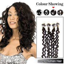 16 inches Dark Brown (#2) 100S Curly Micro Loop Human Hair Extensions