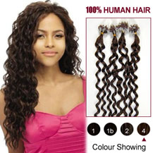 20 inches Medium Brown (#4) 100S Curly Micro Loop Human Hair Extensions