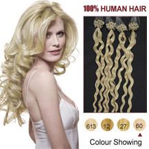 16 inches White Blonde (#60) 100S Curly Micro Loop Human Hair Extensions