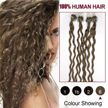 "26"" Light Brown (#6) 100S Curly Micro Loop Human Hair Extensions"