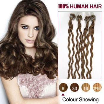 16 inches Ash Brown (#8) 100S Curly Micro Loop Human Hair Extensions