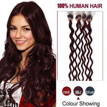 16 inches 99J 100S Curly Micro Loop Human Hair Extensions