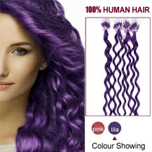 16 inches Lila 50S Curly Micro Loop Human Hair Extensions