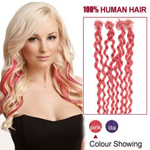 16 inches Pink 50S Curly Micro Loop Human Hair Extensions