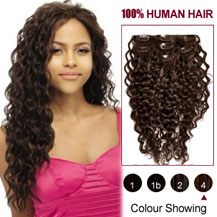 "16"" Medium Brown (#4) 7pcs Curly Clip In Indian Remy Hair Extensions"