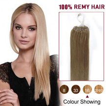 "20"" Golden Blonde (#16) 100S Micro Loop Human Hair Extensions"