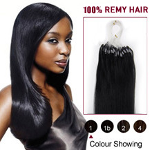 22 inches Jet Black (#1) 100S Micro Loop Human Hair Extensions