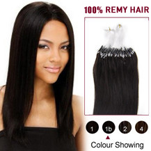 "24"" Natural Black (#1b) 100S Micro Loop Human Hair Extensions"