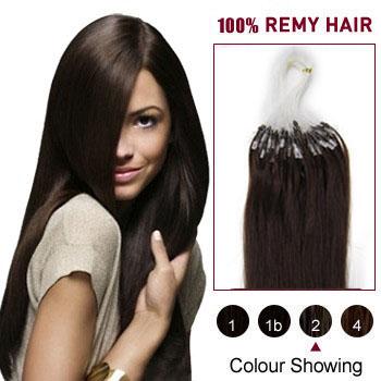 16 inches Dark Brown (#2) 100S Micro Loop Human Hair Extensions