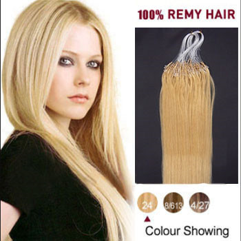 16 inches Ash Blonde (#24) 100S Micro Loop Human Hair Extensions