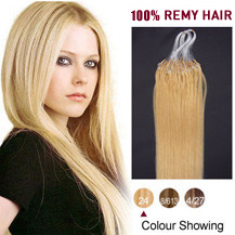 "26"" Ash Blonde (#24) 100S Micro Loop Human Hair Extensions"