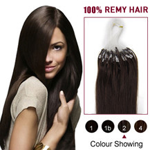 "24"" Dark Brown (#2) 100S Micro Loop Human Hair Extensions"
