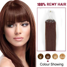 "30"" Dark Auburn (#33) 100S Micro Loop Human Hair Extensions"