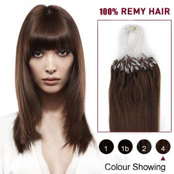 16 inches Medium Brown (#4) 100S Micro Loop Human Hair Extensions