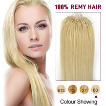"16"" White Blonde (#60) 100S Micro Loop Human Hair Extensions"