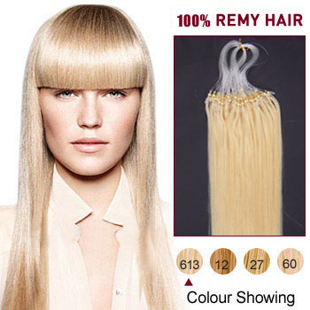 16 inches Bleach Blonde (#613) 100S Micro Loop Human Hair Extensions