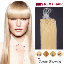 "16"" Bleach Blonde (#613) 50S Micro Loop Human Hair Extensions"
