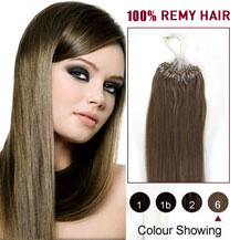 16 inches Light Brown (#6) 50S Micro Loop Human Hair Extensions