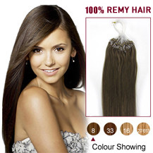 16 inches Ash Brown (#8) 100S Micro Loop Human Hair Extensions