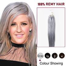 "26"" Gray Micro Loop Human Hair Extensions"