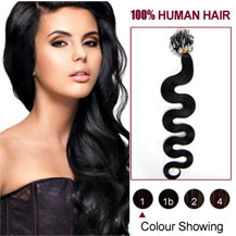 22 inches Jet Black (#1) 100S Wavy Micro Loop Human Hair Extensions