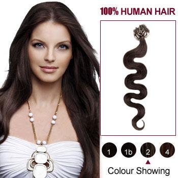 18 inches Dark Brown  (#2) 100S Wavy Micro Loop Human Hair Extensions
