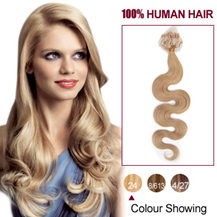 "16"" Ash Blonde (#24)100S Wavy Micro Loop Human Hair Extensions"