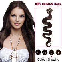 16 inches Dark Brown  (#2) 100S Wavy Micro Loop Human Hair Extensions