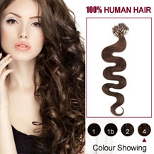 18 inches Medium Brown (#4) 100S Wavy Micro Loop Human Hair Extensions