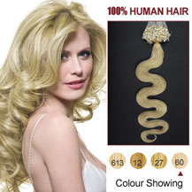 16 inches White Blonde (#60) 100S Wavy Micro Loop Human Hair Extensions
