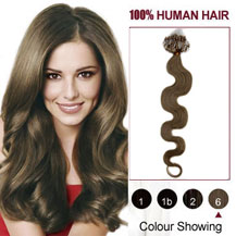 16 inches Light Brown (#6) 100S Wavy Micro Loop Human Hair Extensions