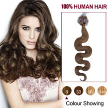 20 inches Ash Brown (#8) 100S Wavy Micro Loop Human Hair Extensions