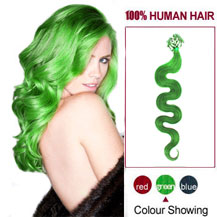 16 inches Green 100S Wavy Micro Loop Human Hair Extensions