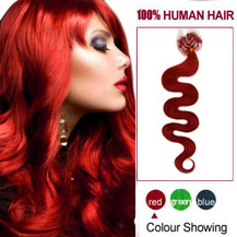 "22"" Red 50S Wavy Micro Loop Human Hair Extensions"
