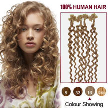 16 inches Golden Blonde (#16) 100S Curly Nail Tip Human Hair Extensions