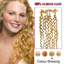 18 inches Strawberry Blonde (#27) 100S Curly Nail Tip Human Hair Extensions