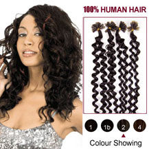20 inches Dark Brown (#2) 100S Curly Nail Tip Human Hair Extensions