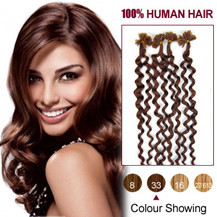 16 inches Dark Auburn (#33) 100S Curly Nail Tip Human Hair Extensions