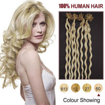 20 inches White Blonde (#60) 100S Curly Nail Tip Human Hair Extensions