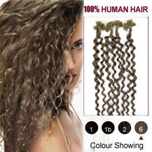16 inches Light Brown (#6) 100S Curly Nail Tip Human Hair Extensions