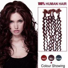 16 inches 99J 100S Curly Nail Tip Human Hair Extensions