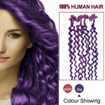 20 inches Lila 100S Curly Nail Tip Human Hair Extensions