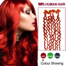 18 inches Red 100S Curly Nail Tip Human Hair Extensions