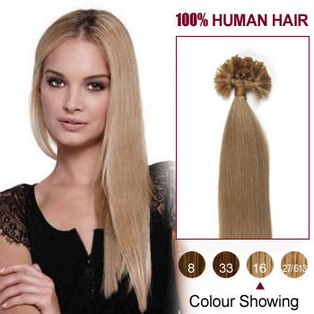 24 inches Golden Blonde (#16) 100S Nail Tip Human Hair Extensions