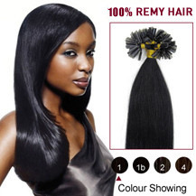 20 inches Jet Black (#1) 100S Nail Tip Human Hair Extensions