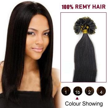 16 inches Natural Black (#1b) 100S Nail Tip Human Hair Extensions