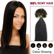 24 inches Natural Black (#1b) 100S Nail Tip Human Hair Extensions