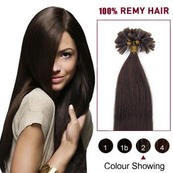 16 inches Dark Brown (#2) 100S Nail Tip Human Hair Extensions