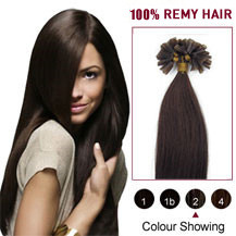 24 inches Dark Brown (#2) 100S Nail Tip Human Hair Extensions