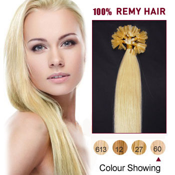 24 inches White Blonde (#60) 100S Nail Tip Human Hair Extensions